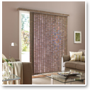 Vertical blinds allow unobstructed access through sliding doors.